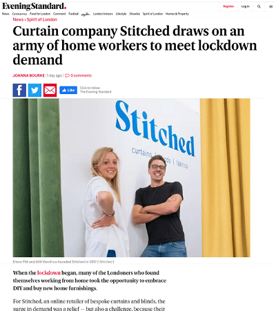 Stitched Article in the Evening Standard
