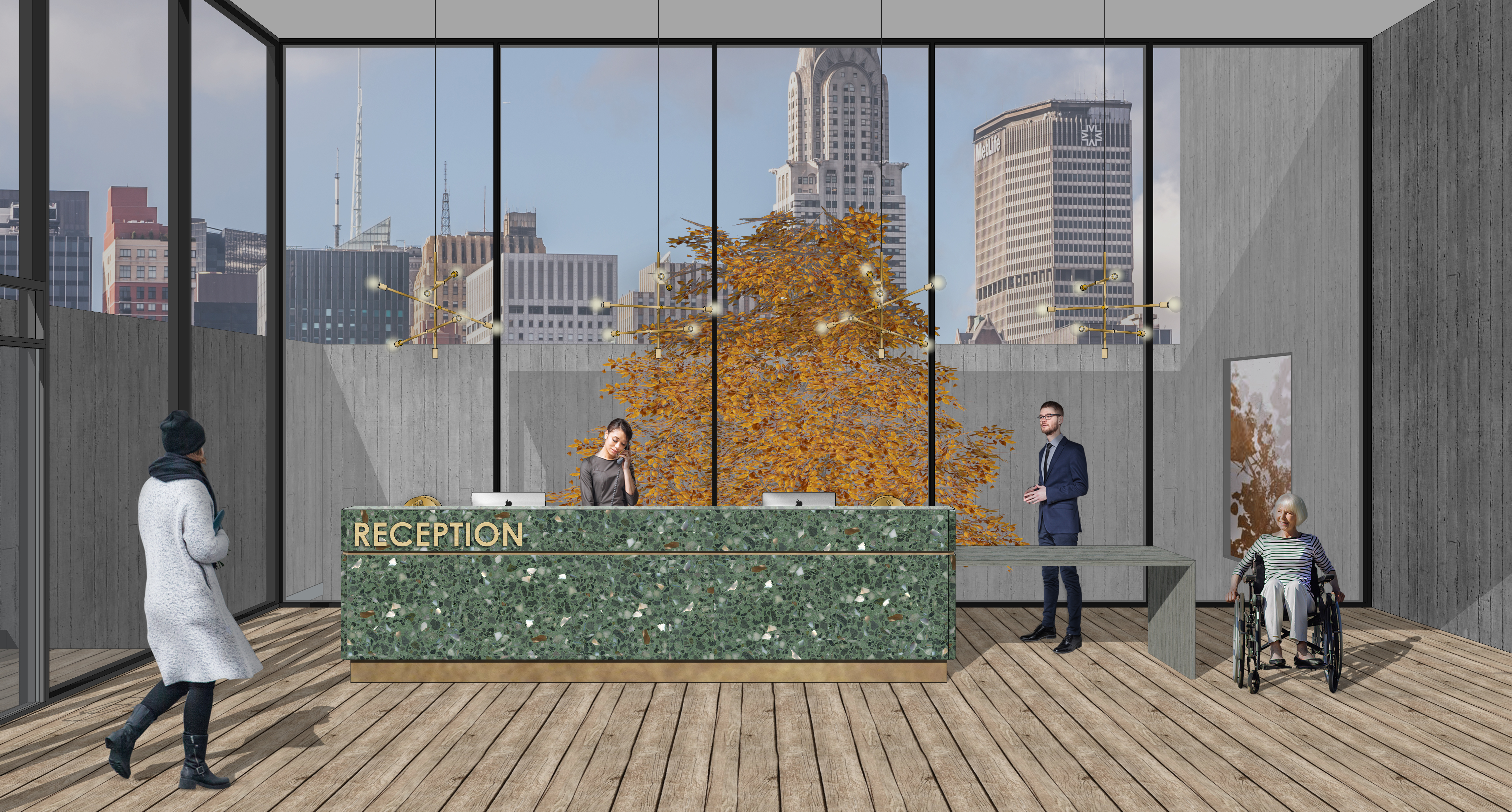 Rendered Visual of Reception Desk - Siobhan Hughes