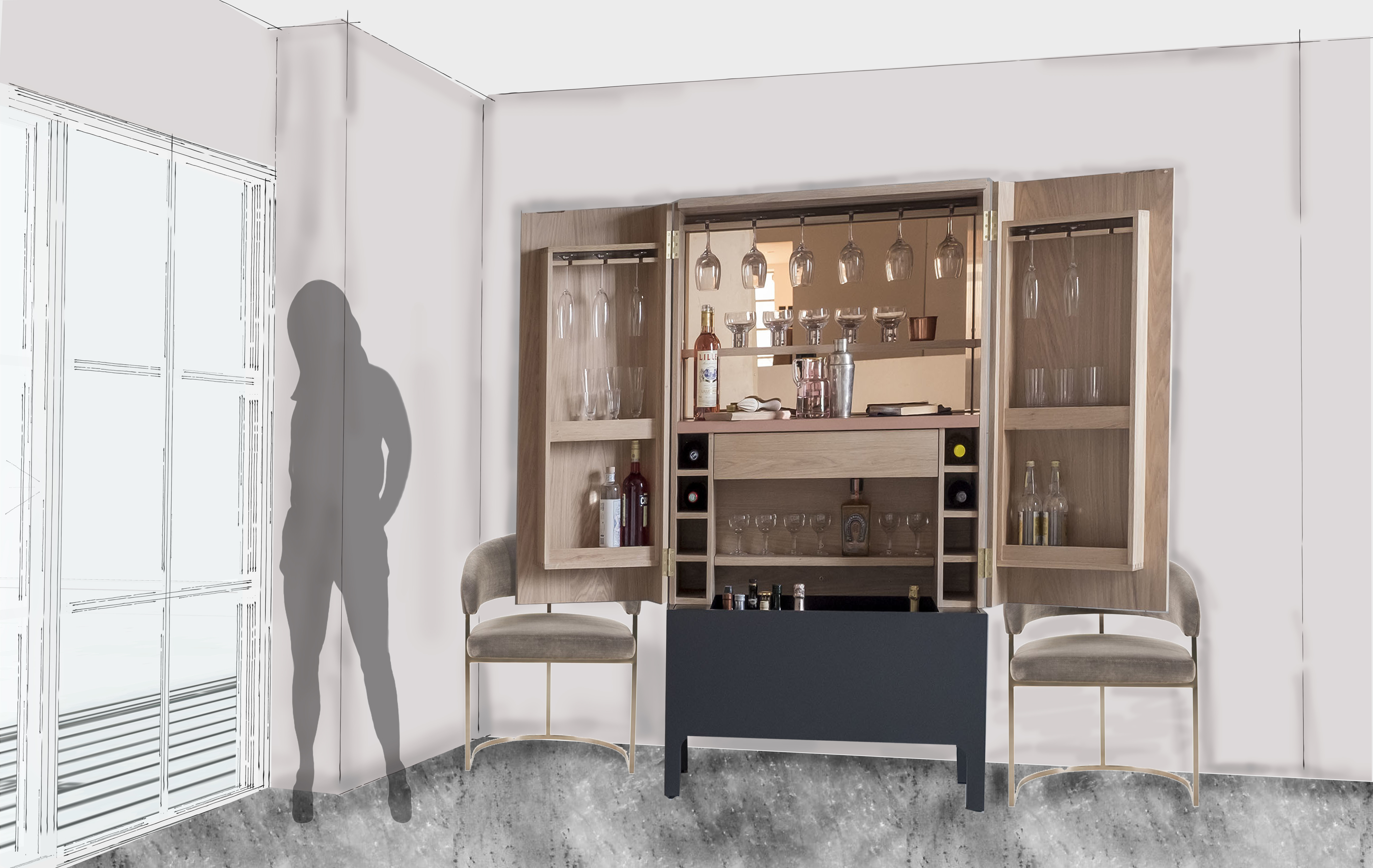 Chloe Bradley Apartment Drinks Cabinet
