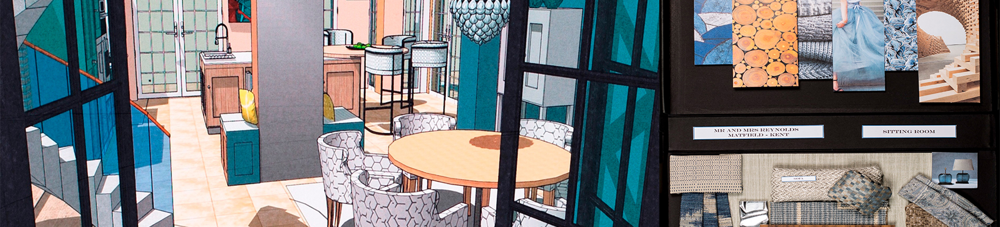 Illustration of a residential design project of anmodern open plan lounge diner with sample board